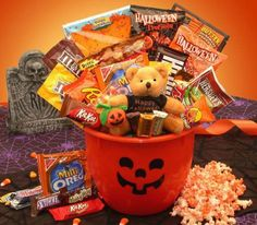 Jack-o-Lantern Halloween Tricks and Treats Candy Gift Basket... sweepstakes IFTTT reddit giveaways freebies contests