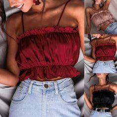 Spring Summer Sexy Womens Fashion Vintage Ladies Casual Solid Color Fold Basic Strappy Solid Tank Tops Ruffles Crop Top - All About Crop Top Styles, Lace Top Outfits, Casual Skirt Outfits, Crop Tops, Tank Tops, Bikini Triangle, Latest Fashion For Women, Womens Fashion, Femmes Les Plus Sexy