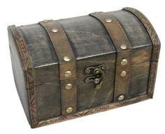 vintage olhando com chave de madeira baú pirata caixa de jóias