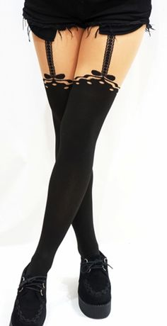 Sexy Bow Dots Suspender tights - Opaque