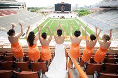 sports wedding | Sports-themed-wedding-bridesmaids-wear-orange-bride-wearing-white ...
