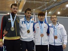 Vancouver 2016 Peter Bakonyi World Cup podium: Gold Enrico GAROZZO (ITA), Silver Constantin BÖHM (GER), Bronze Yuval Shalom FREILICH (ISR) and Sangyoung PARK (KOR) (Photo: W.S. Olaf WOLF)