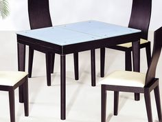 """Athome DT6016 Dining Table Black - The wooden dining table. Sliding black table  with clear glass top. It fits into any modern interior. Dimensions: 71"""" x 31.5"""" x 30""""."""