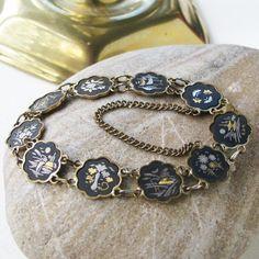 Vintage Damascene Japan Link Bracelet 24kt Gold And by Unicoins