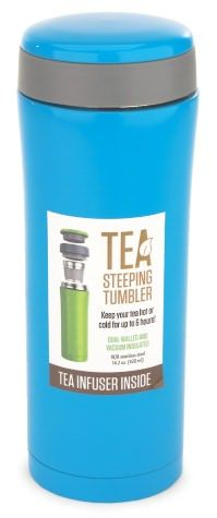 A Carribean Blue tea steeping tumbler that keeps your tea hot for five hours??? YES PLZ.