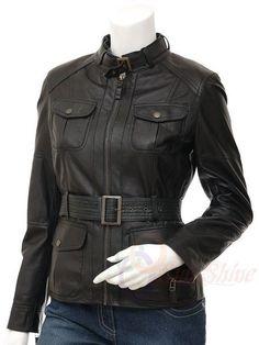 Ladies Leather Jacket Belt Style Genuine Lambskin Motorcycle Original Size #A115 #Handmade #BasicJacket