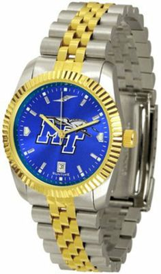 Middle Tennessee State Blue Raiders Executive AnoChrome Men's Watch by SunTime. $154.10. The ultimate NCAA Middle Tennessee State Blue Raiders fan's statement, our Executive timepiece offers men a classic, business-appropriate look. Features a 23KT gold-plated bezel, stainless steel case and date function. Secures to your wrist with a two-tone solid stainless steel band complete with safety clasp.The AnoChrome dial option increases the visual impact of any watch with a stunni...
