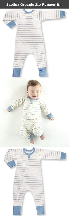 Sapling Organic Zip Romper Blue French Stripe 6-12m. This adorable baby zip romper is made from the highest quality and softest organic cotton available and it features two way zipper and fold-over foot cuffs. Sapling has added technical design improvements such as flat seam stitching, longer cuffs, and double stitched bindings, making this the best quality bodysuit on the planet. They have also been printed with GOTS approved water based dyes that are free from toxic chemicals and heavy...