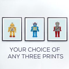 Robot Nursery decor, Toddlers wall art, Robot wall art, colorful kids prints, unique nursery art, Vintage Robots by Little Grippers by LittleGrippersStore on Etsy https://www.etsy.com/nz/listing/269564218/robot-nursery-decor-toddlers-wall-art