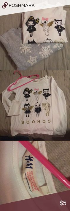 "2 H&M long sleeve shirts. New without Tags! One super soft snowflake sweatshirt size 8-10 and one Halloween long sleeve stretchy T-shirt size 8-10. Both New without tags. Only tried on in store. I may have washed sweatshirt once but ""boohoo"" shirt has never been washed. Run small in my opinion. Fit more like 6-7. H&M Shirts & Tops"