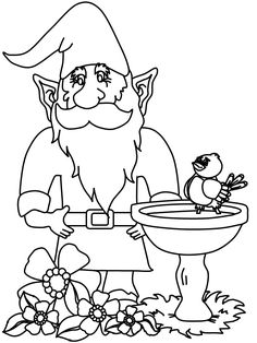 garden gnome coloring page