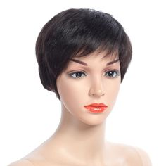 NAYOO Hair Short Remy Human Hair Wigs With Baby Hair Bang Non Lace Wig Peruvian Bob Straight Wigs For Women Remy Human Hair, Human Hair Wigs, Straight Wigs, Hairstyles With Bangs, Hair Type, Lace Wigs, Short Hair Styles, Bob, Color