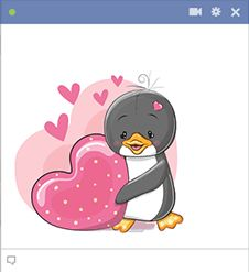 This penguin has a whole lot of love to share to someone sweet on Facebook.