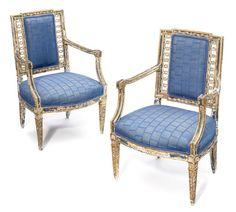 A pair of Italian Neoclassical paint decorated and parcel giltwood armchairs <BR />fourth quarter 18th century