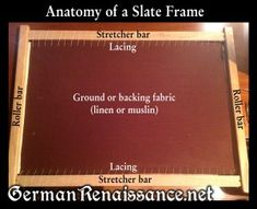 """slate-frame-parts and instructions on finding frames, """"dressing"""" frame. Other embroidery info on site."""