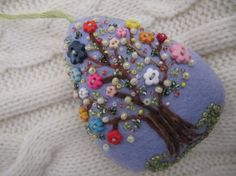 Easter Decoration  Felt Beaded Egg Ornament in by MrsNeedleton, $25.00