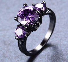 Black Amethyst Gold Ring