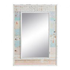 Espejo estilo infantil colección Poppies, marco de amdera en tonos blanco, azul y rosa     Medidas: 54.5x76.5 cm