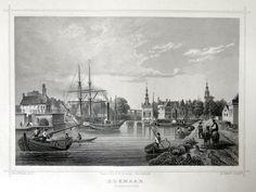 Alkmaar-Kanaalzijde| Herkomst : J.L. Terwen - Het Koningrijk der Nederlanden, afm. 14 x 20 cm Staalgravure 1860
