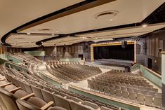 The auditorium can seat 800 patrons, and has a full-fly space with a counter-weight rigging system, an orchestra pit, catwalk access, and support spaces. Photo (c) Studio SMW School Building Design, School Design, Auditorium Design, School Hallways, Dream School, Private School, House Rooms, Interior Architecture, High School