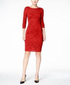 Calvin Klein Illusion Floral Intarsia-Knit Sheath Dress - Red XL