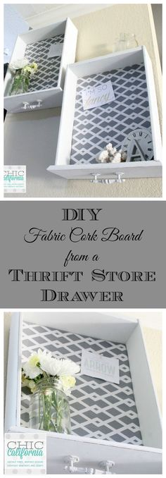 DIY Fabric Covered Bulletin Board from a thrift store drawer
