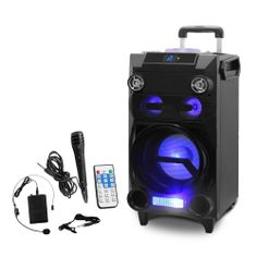 Portable PA system with Wireless Mic - Pyle (PWMA335BT) Portable Bluetooth Karaoke Speaker System – PA Loudspeaker with Flashing DJ Lights, Built-in Rechargeable Battery, FM Radio, MP3/USB/Micro SD