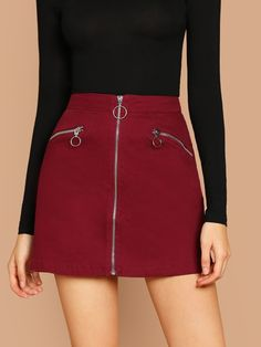 Zip Front Zipper Detail Twill A-Line Mini Skirt -SheIn(Sheinside) - Strumpfhosen outfit - Skirt Ideen Summer Dresses Uk, White Dress Summer, Belted Shirt Dress, Tee Dress, Cute Skirts, Mini Skirts, Fancy Skirts, Beige Pencil Skirt, Look Fashion