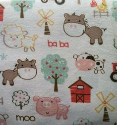 Farm Print FLANNEL Crib / Toddler Bed Fitted or Flat Sheets - Made to Order