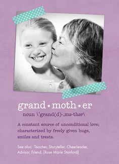 Grandmother Definition Photo Mother's Day Card