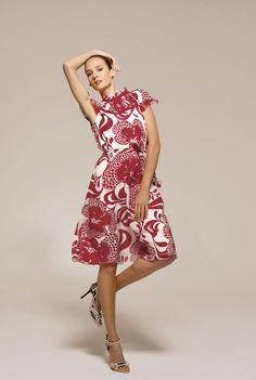 abito elegante in chiffon bianco rosso stampa floreale