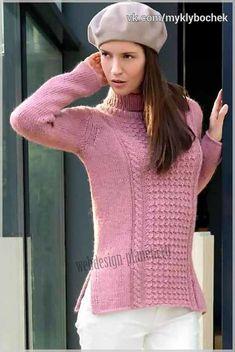 Женский пуловер спицами с фантазийным узором 8d01af47c8a7