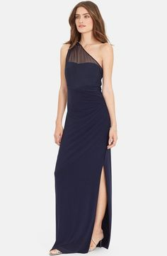 Lauren Ralph Lauren Embellished One-Shoulder Jersey Column Gown available  at #Nordstrom