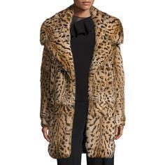 Cushnie Et Ochs Leopard-Print Rabbit-Fur Oversized Coat ($3,395) ❤ liked on Polyvore featuring outerwear, coats, leopard, brown coat, leopard print coat, oversized coat, rabbit fur coat and rabbit coat