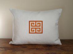 Orange and white greek key rectangular/lumbar pillow by drkdesigns, $40.00