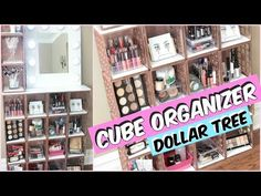 Today, I'll be showing you how to make this Dollar Tree cube organizer. I made mine to go along with my vanity mir. Diy Makeup Organizer, Makeup Storage Organization, Make Up Organiser, Cube Organizer, Storage Ideas, Storage Organizers, Ikea Storage, Bedroom Organization, Maquillaje Diy