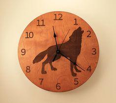 Wolf laser cut clock Wood clock Nature clock by BunBunWoodworking