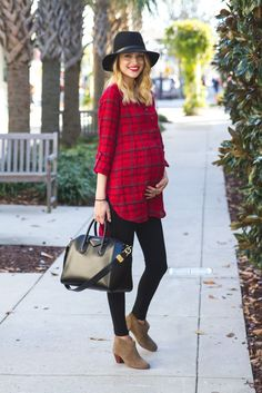 Little Blonde Book by Taylor Morgan | A Life and Style Blog : Red Plaid #maternityoutfits