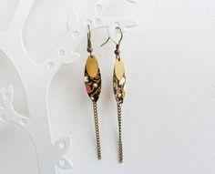 *Boucles d'oreilles japonaises* bronze noir - Modèle Zenkō: bonheur vertueux : Boucles d'oreille par tiks-creatifs