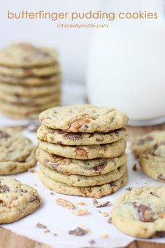 Butterfinger Pudding Cookies - the perfect cookie for Butterfinger lovers! Soft and chewy with chunks of Butterfinger candy.