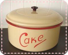 enamelware CAKE….next storage bin for meas. bits….