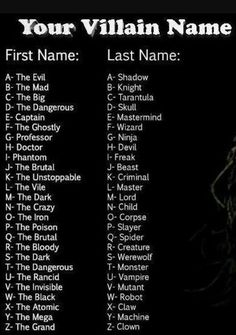 The evel mastermind why not guys why not <<< the Dark Werewolf Scary Names, Funny Names, Cool Names, Book Writing Tips, Writing Words, Funny Name Generator, Hero Name Generator, Birthday Scenario Game, Villain Names