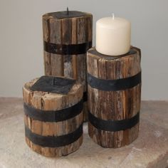 Charming set of 3 reclaimed wooden candle holders - ideal for tabletop.    Dimensions: Lg. 10cm x 10cm x 20cm £29.50/set of 3