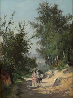 Frank Cinot Courting scene Oil on Canvas European Paintings, Oil On Canvas, 19th Century, Scene, Mountains, Nature, Travel, Art, Art Background