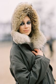 weather report for today's 20 shows in Paris says...hood. preferably with fur. Kelli Lumi #offduty. #VanessaJackman