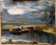 John Constable, 'Barges on the Stour, with Dedham Church in the Distance', oil on paper. © Victoria and Albert Museum, London. Landscape Art, Landscape Paintings, John Constable Paintings, Dynamic Painting, Romanticism Artists, V & A Museum, English Artists, Seascape Paintings, Cool Landscapes