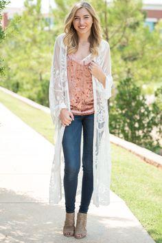 Lace maxi cardigan white