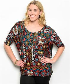 Plus Size - Way Out West Aztec Print Blouse Top