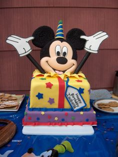 Mickey Mouse - Mickey Mouse face made out of candy melts.  Cake covered in fondant.  Mickey hands made of fondant.