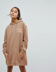 Ellesse Oversized Hoodie Dress With Washed Out Logo - Tan #HoodiesWomensOutfit #HoodiesWomensOversized